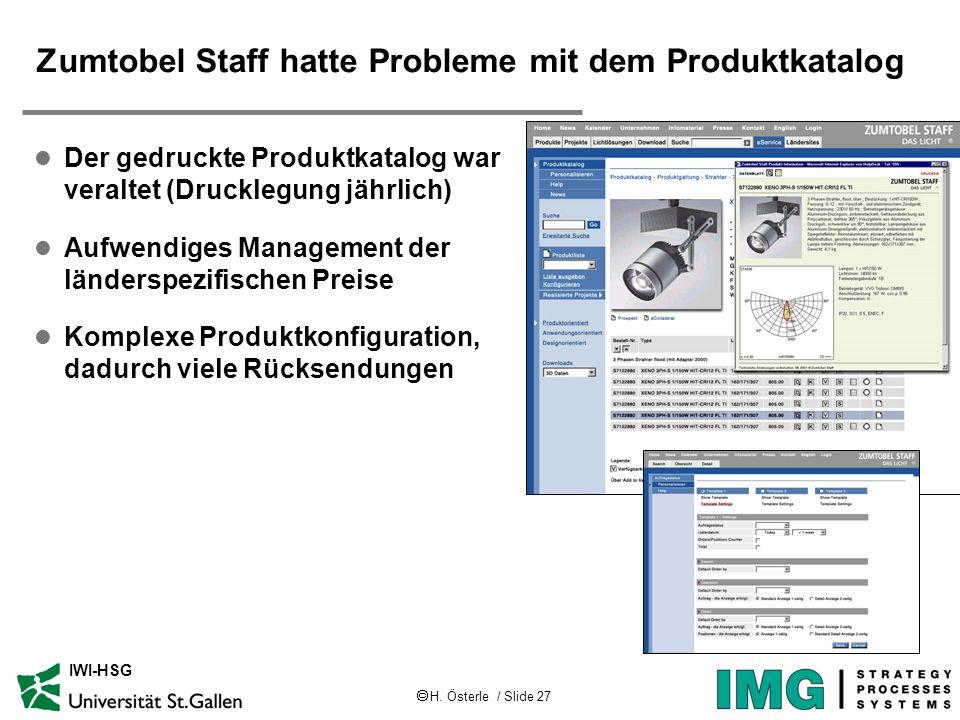 H. Österle / Slide 27 IWI-HSG Zumtobel Staff hatte Probleme mit dem Produktkatalog l Der gedruckte Produktkatalog war veraltet (Drucklegung jährlich)