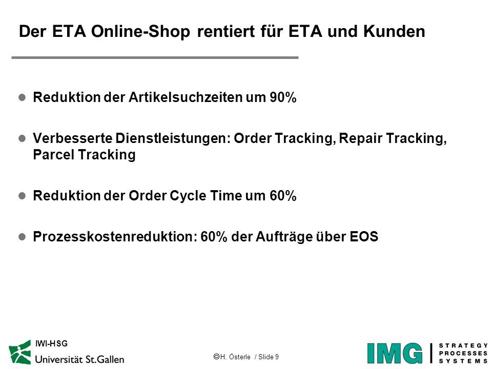 H. Österle / Slide 9 IWI-HSG Der ETA Online-Shop rentiert für ETA und Kunden l Reduktion der Artikelsuchzeiten um 90% l Verbesserte Dienstleistungen: