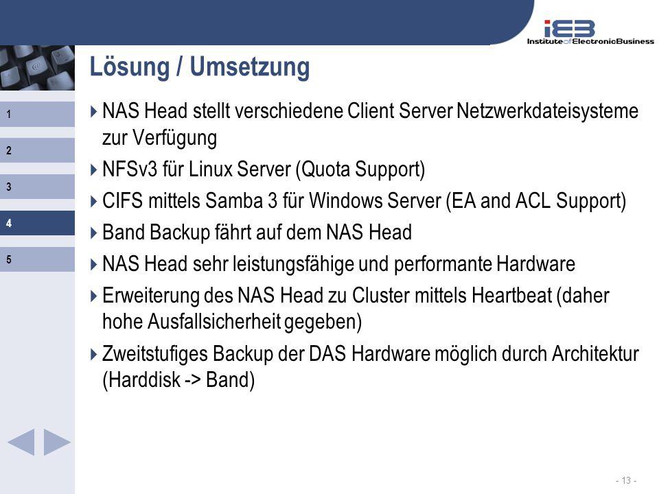 1 2 3 4 5 - 13 - Lösung / Umsetzung NAS Head stellt verschiedene Client Server Netzwerkdateisysteme zur Verfügung NFSv3 für Linux Server (Quota Suppor