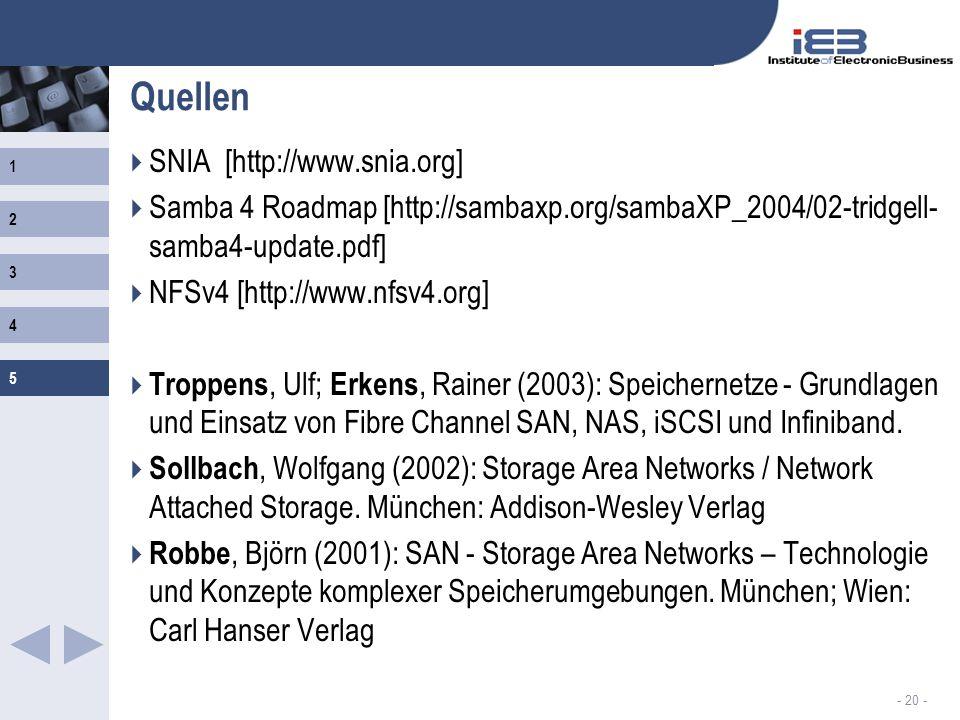 1 2 3 4 5 - 20 - Quellen SNIA [http://www.snia.org] Samba 4 Roadmap [http://sambaxp.org/sambaXP_2004/02-tridgell- samba4-update.pdf] NFSv4 [http://www