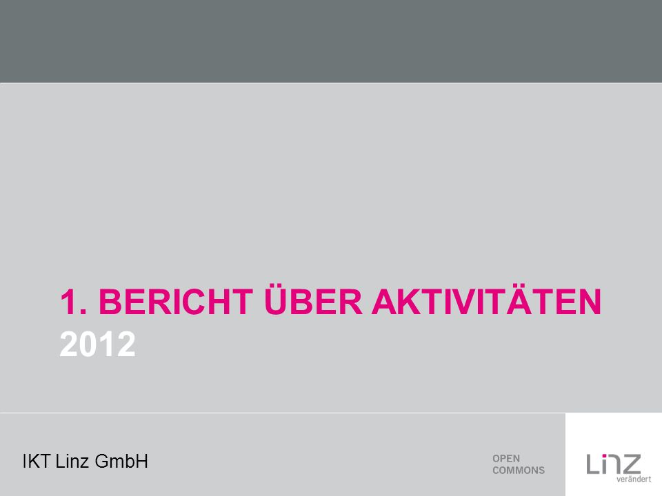 IKT Linz GmbH 1. BERICHT ÜBER AKTIVITÄTEN 2012