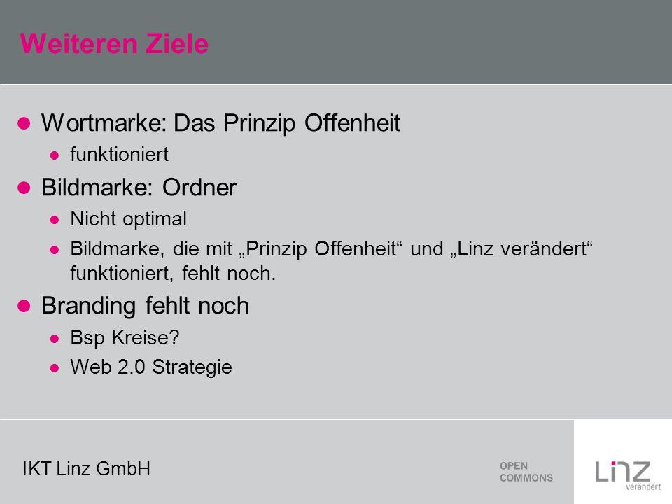 IKT Linz GmbH Weiteren Ziele Wortmarke: Das Prinzip Offenheit funktioniert Bildmarke: Ordner Nicht optimal Bildmarke, die mit Prinzip Offenheit und Linz verändert funktioniert, fehlt noch.