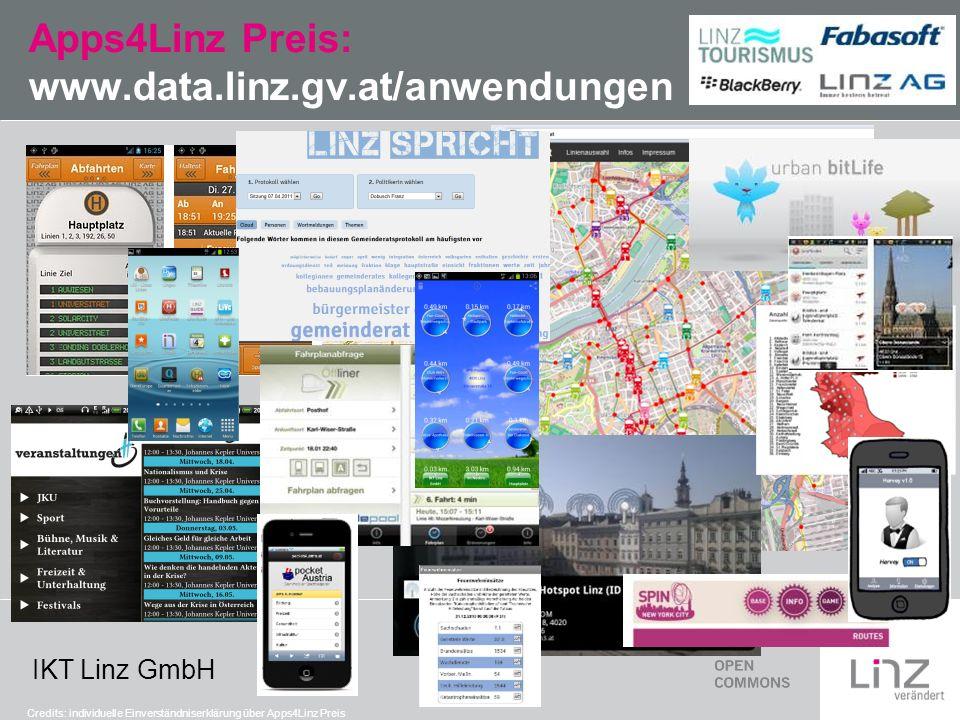 IKT Linz GmbH Apps4Linz Preis: www.data.linz.gv.at/anwendungen Credits: individuelle Einverständniserklärung über Apps4Linz Preis