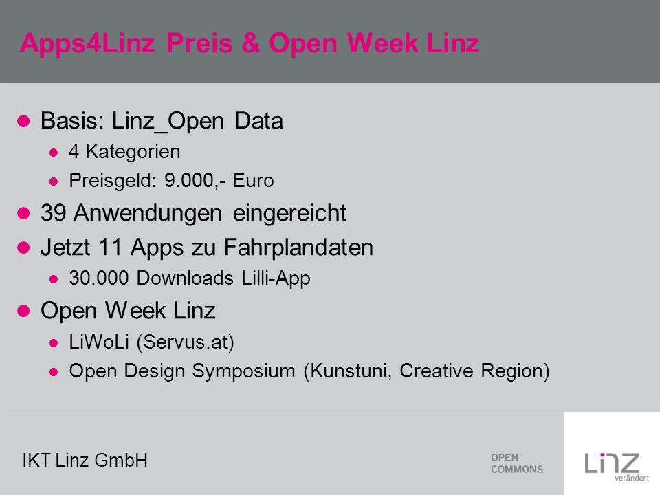 IKT Linz GmbH Apps4Linz Preis & Open Week Linz Basis: Linz_Open Data 4 Kategorien Preisgeld: 9.000,- Euro 39 Anwendungen eingereicht Jetzt 11 Apps zu Fahrplandaten 30.000 Downloads Lilli-App Open Week Linz LiWoLi (Servus.at) Open Design Symposium (Kunstuni, Creative Region)