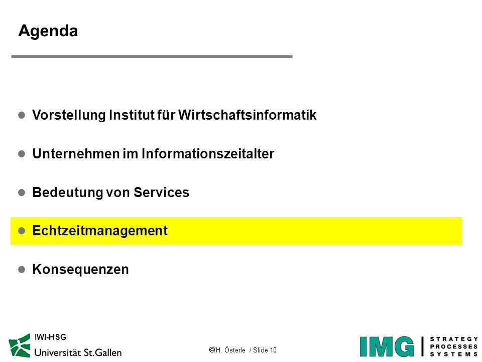 H. Österle / Slide 10 IWI-HSG Agenda l Vorstellung Institut für Wirtschaftsinformatik l Unternehmen im Informationszeitalter l Bedeutung von Services