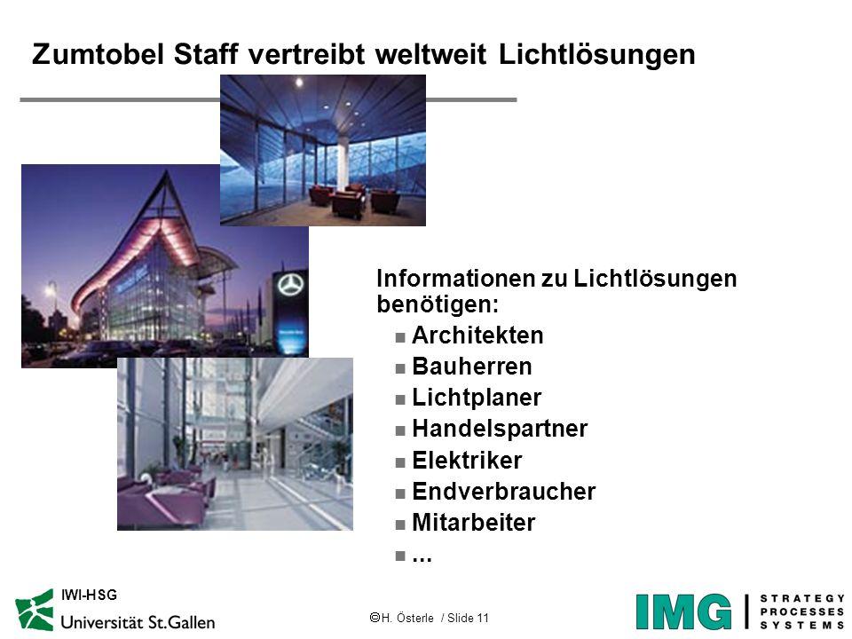H. Österle / Slide 11 IWI-HSG Zumtobel Staff vertreibt weltweit Lichtlösungen Informationen zu Lichtlösungen benötigen: n Architekten n Bauherren n Li