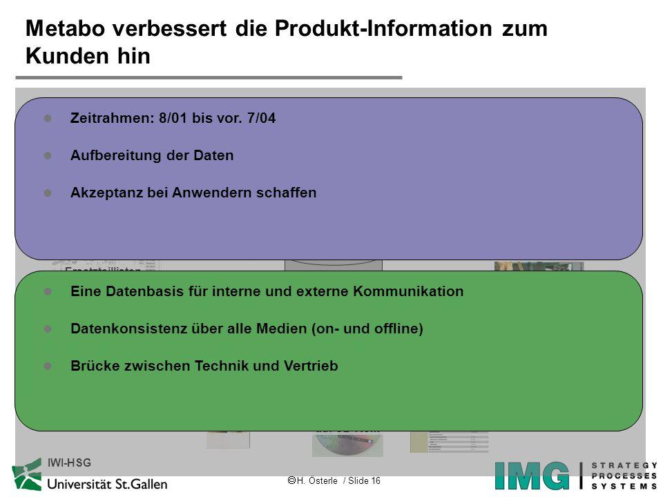 H. Österle / Slide 16 IWI-HSG Metabo verbessert die Produkt-Information zum Kunden hin Präsentationen Leistungsschilder Verpackungen Bedienungs- anlei