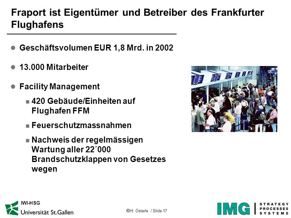 H. Österle / Slide 17 IWI-HSG Fraport ist Eigentümer und Betreiber des Frankfurter Flughafens l Geschäftsvolumen EUR 1,8 Mrd. in 2002 l 13.000 Mitarbe