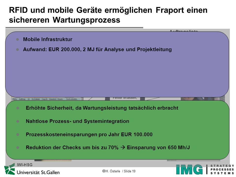 H. Österle / Slide 19 IWI-HSG RFID und mobile Geräte ermöglichen Fraport einen sichereren Wartungsprozess Wartungs- aufträge einlesen Lokalisierung Kl