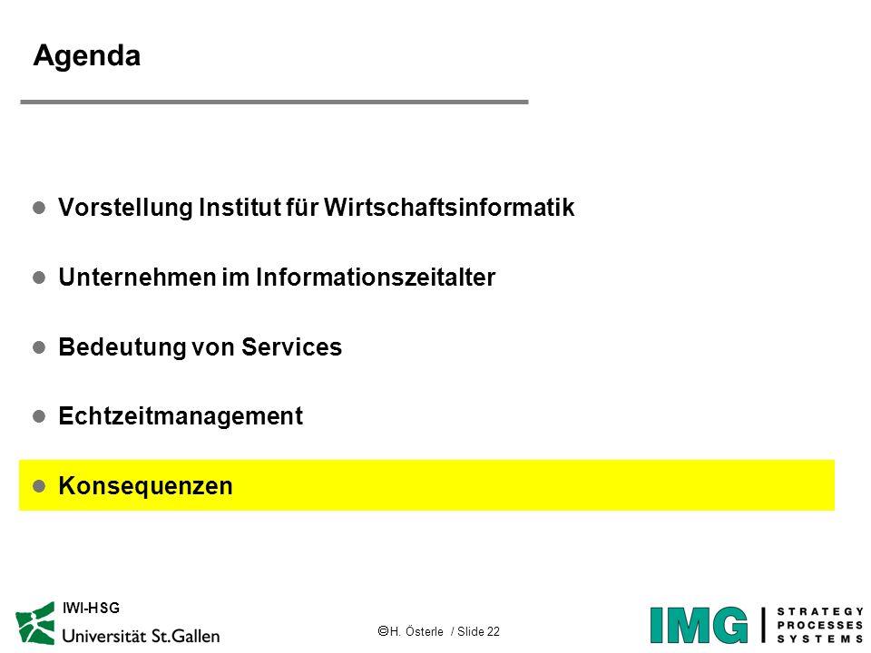 H. Österle / Slide 22 IWI-HSG Agenda l Vorstellung Institut für Wirtschaftsinformatik l Unternehmen im Informationszeitalter l Bedeutung von Services