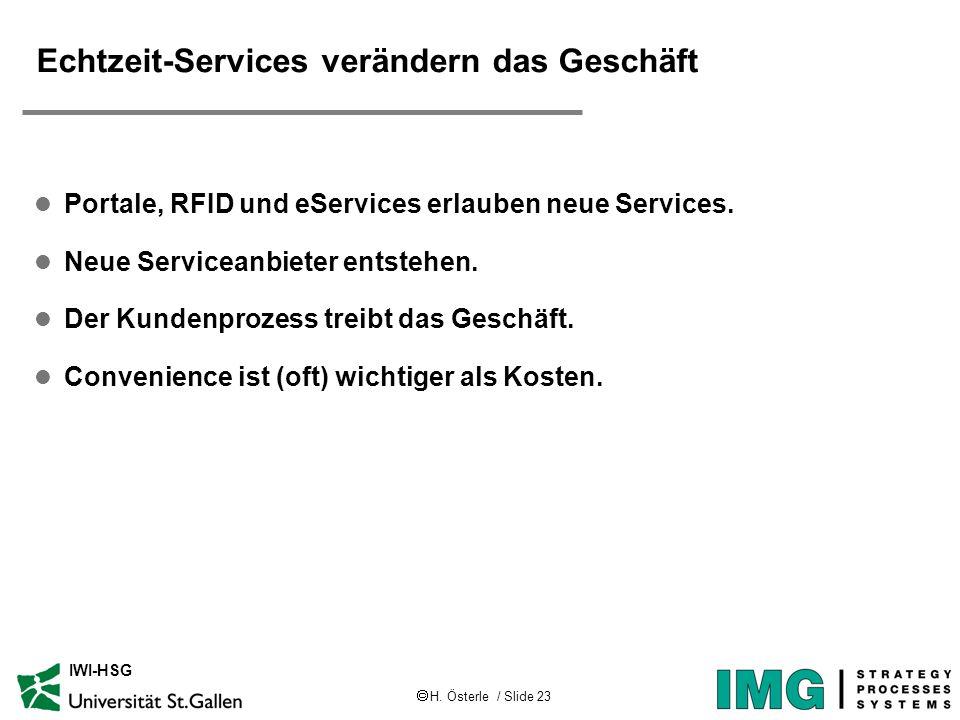 H. Österle / Slide 23 IWI-HSG Echtzeit-Services verändern das Geschäft l Portale, RFID und eServices erlauben neue Services. l Neue Serviceanbieter en