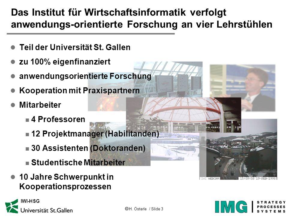 H. Österle / Slide 3 IWI-HSG Das Institut für Wirtschaftsinformatik verfolgt anwendungs-orientierte Forschung an vier Lehrstühlen l Teil der Universit