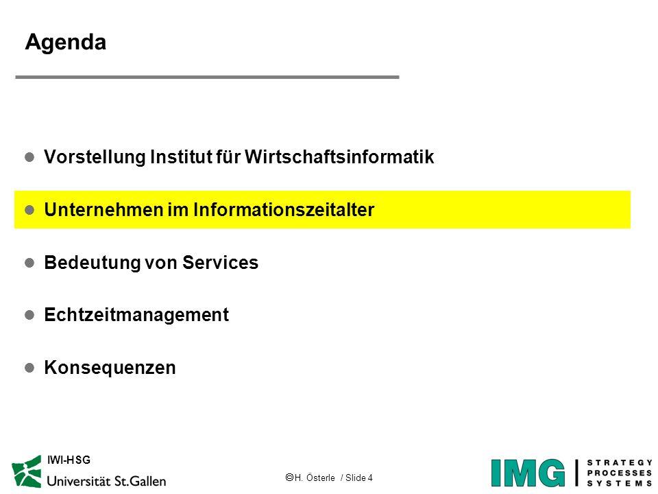 H. Österle / Slide 4 IWI-HSG Agenda l Vorstellung Institut für Wirtschaftsinformatik l Unternehmen im Informationszeitalter l Bedeutung von Services l