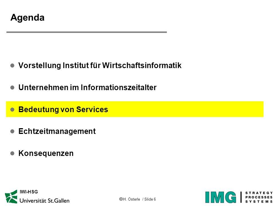 H. Österle / Slide 6 IWI-HSG Agenda l Vorstellung Institut für Wirtschaftsinformatik l Unternehmen im Informationszeitalter l Bedeutung von Services l