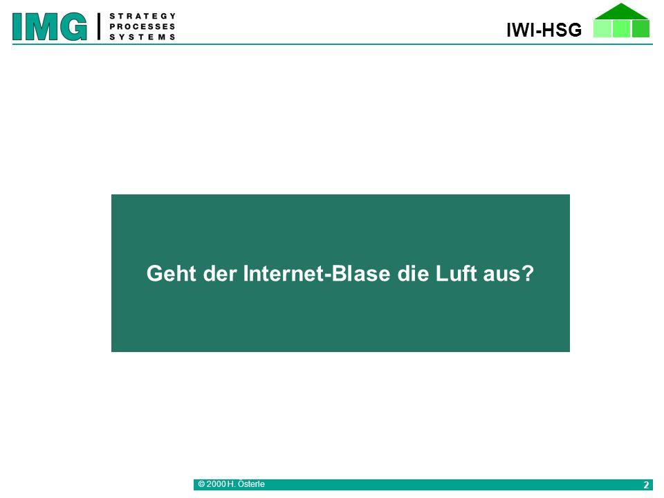 © 2000 H. Österle 2 Geht der Internet-Blase die Luft aus?