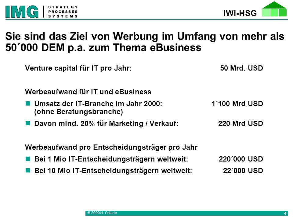IWI-HSG © 2000 H.Österle 4 Sie sind das Ziel von Werbung im Umfang von mehr als 50´000 DEM p.a.