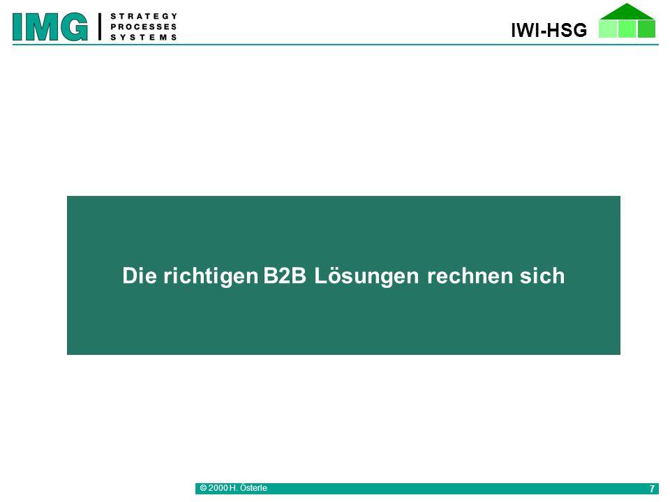 IWI-HSG © 2000 H. Österle 7 Die richtigen B2B Lösungen rechnen sich