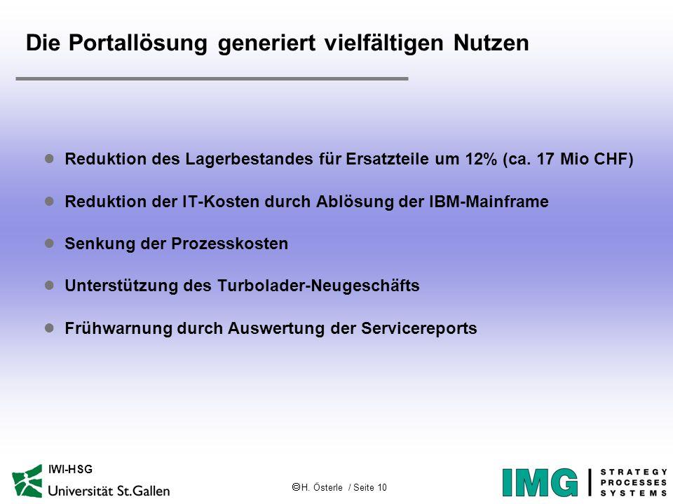 H. Österle / Seite 10 IWI-HSG Die Portallösung generiert vielfältigen Nutzen l Reduktion des Lagerbestandes für Ersatzteile um 12% (ca. 17 Mio CHF) l
