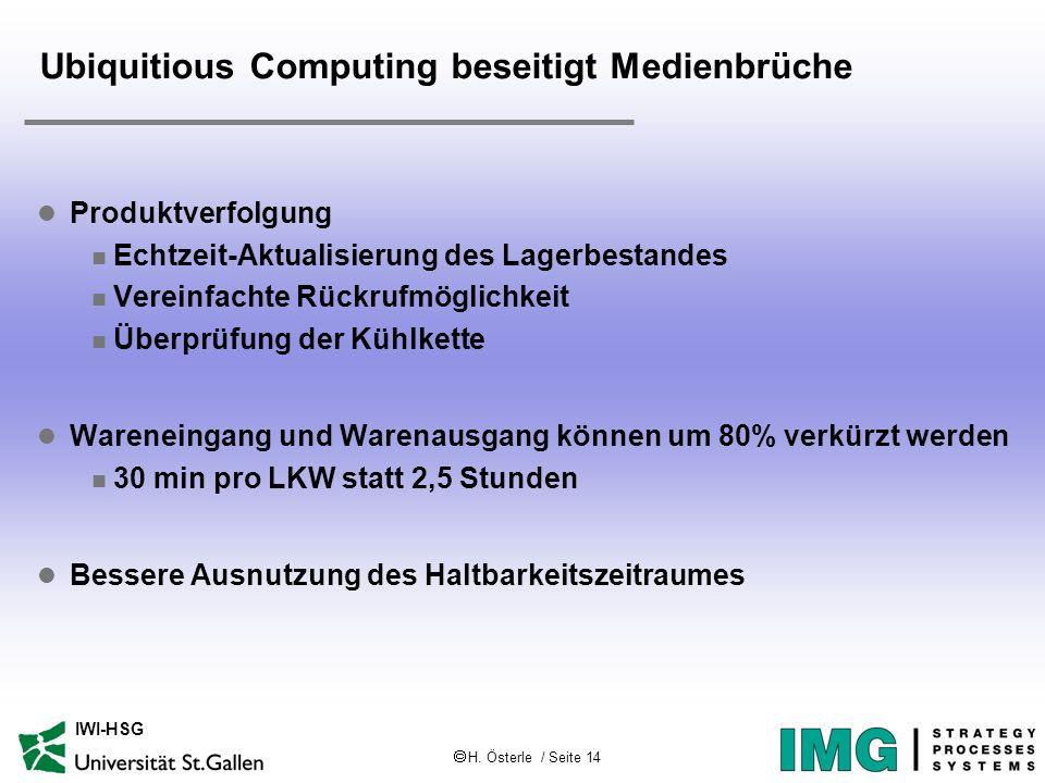 H. Österle / Seite 14 IWI-HSG Ubiquitious Computing beseitigt Medienbrüche l Produktverfolgung n Echtzeit-Aktualisierung des Lagerbestandes n Vereinfa