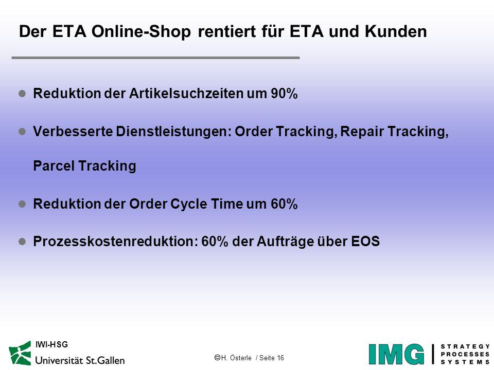 H. Österle / Seite 16 IWI-HSG Der ETA Online-Shop rentiert für ETA und Kunden l Reduktion der Artikelsuchzeiten um 90% l Verbesserte Dienstleistungen:
