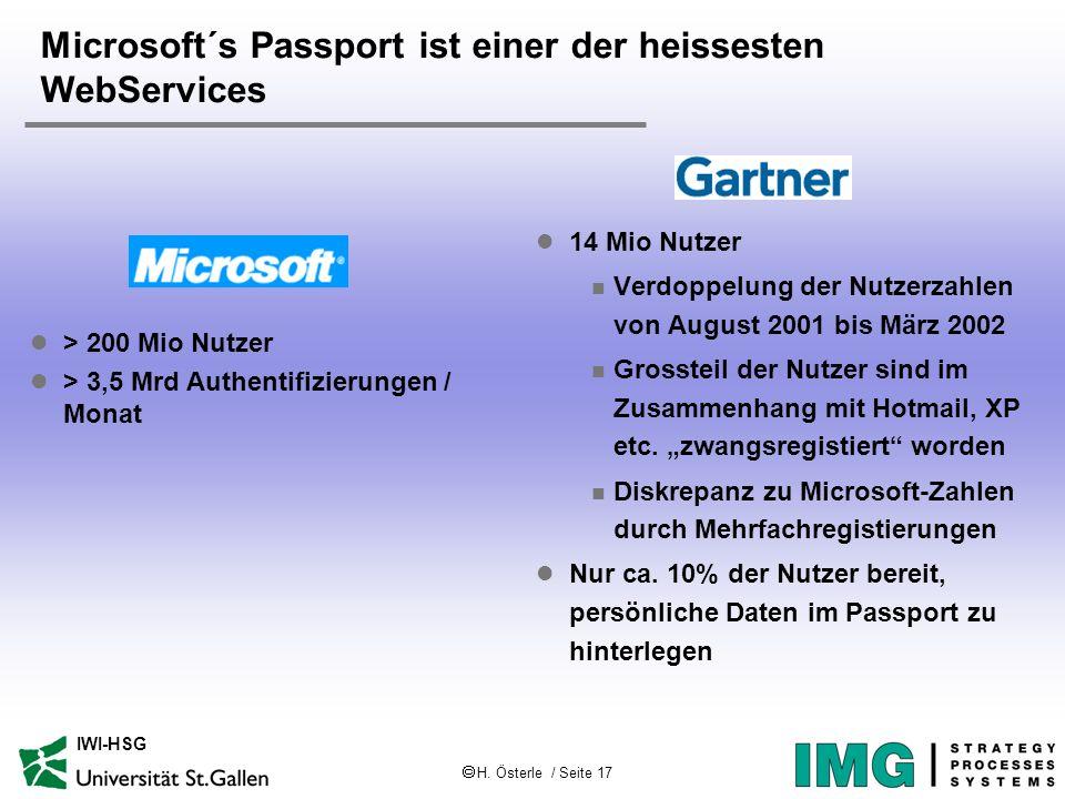 H. Österle / Seite 17 IWI-HSG Microsoft´s Passport ist einer der heissesten WebServices l 14 Mio Nutzer n Verdoppelung der Nutzerzahlen von August 200