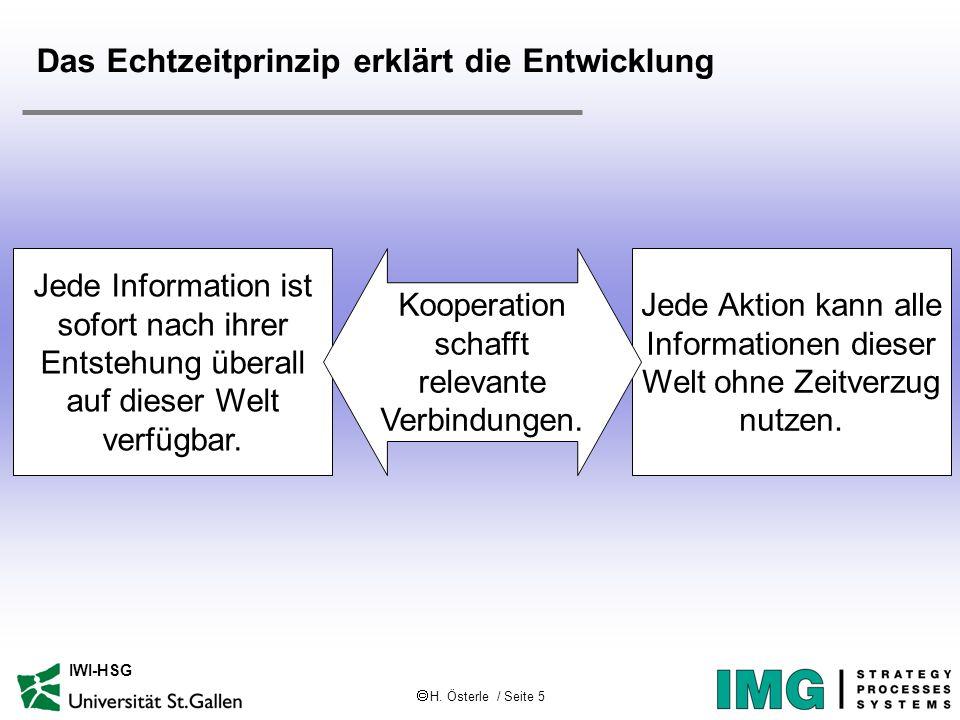 H. Österle / Seite 5 IWI-HSG Das Echtzeitprinzip erklärt die Entwicklung Jede Information ist sofort nach ihrer Entstehung überall auf dieser Welt ver