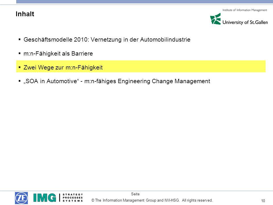 10 Seite © The Information Management Group and IWI-HSG. All rights reserved. Inhalt Geschäftsmodelle 2010: Vernetzung in der Automobilindustrie m:n-F