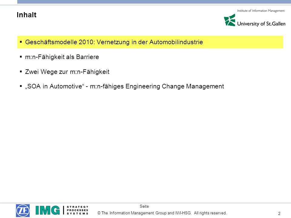 2 Seite © The Information Management Group and IWI-HSG. All rights reserved. Inhalt Geschäftsmodelle 2010: Vernetzung in der Automobilindustrie m:n-Fä