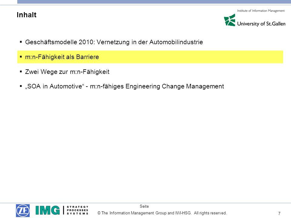 7 Seite © The Information Management Group and IWI-HSG. All rights reserved. Inhalt Geschäftsmodelle 2010: Vernetzung in der Automobilindustrie m:n-Fä