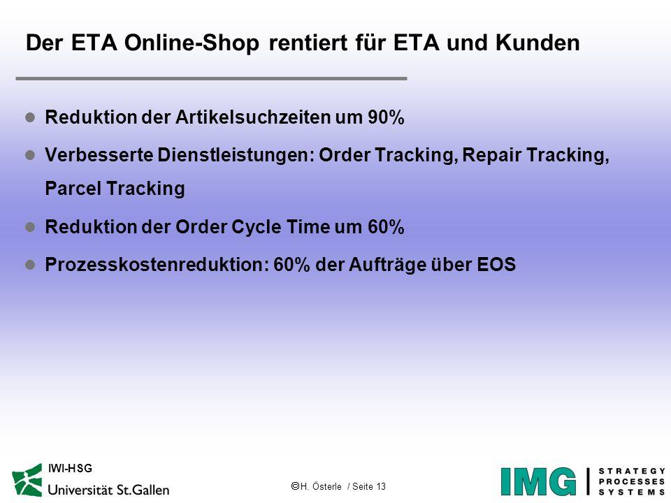 H. Österle / Seite 13 IWI-HSG Der ETA Online-Shop rentiert für ETA und Kunden l Reduktion der Artikelsuchzeiten um 90% l Verbesserte Dienstleistungen: