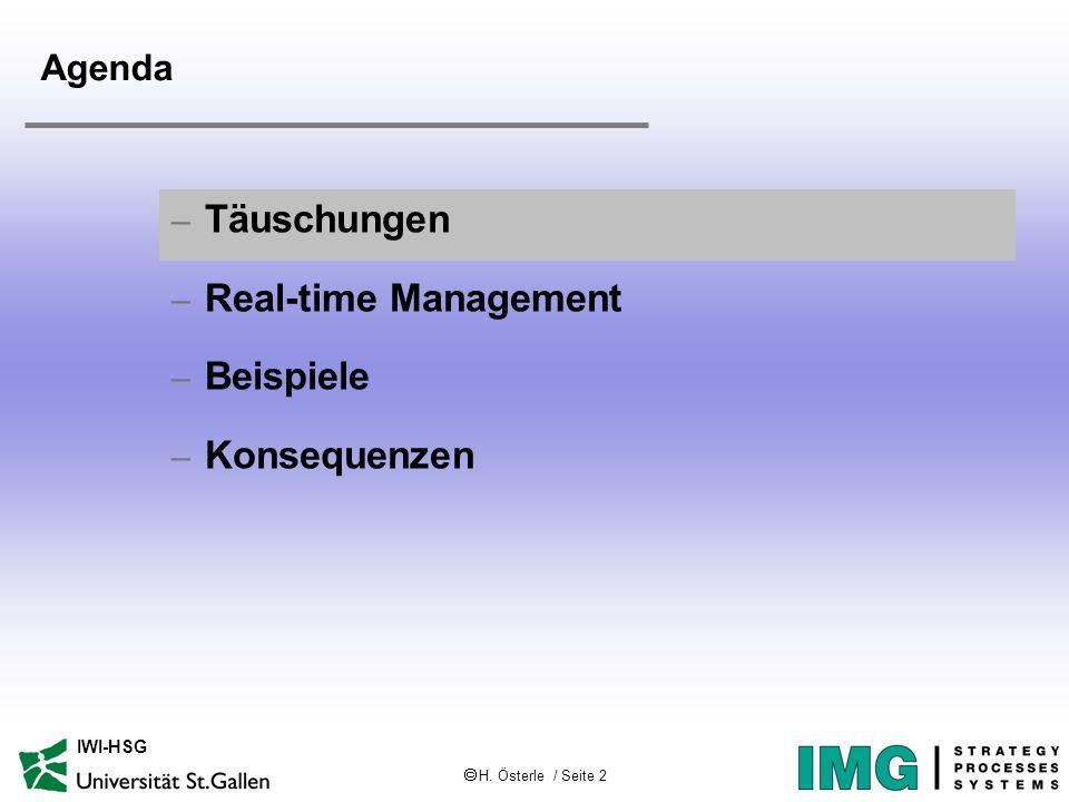 H. Österle / Seite 2 IWI-HSG Agenda – Täuschungen – Real-time Management – Beispiele – Konsequenzen