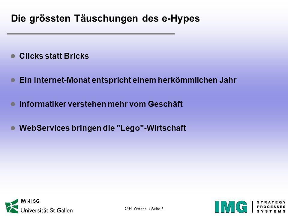 H. Österle / Seite 3 IWI-HSG Die grössten Täuschungen des e-Hypes l Clicks statt Bricks l Ein Internet-Monat entspricht einem herkömmlichen Jahr l Inf