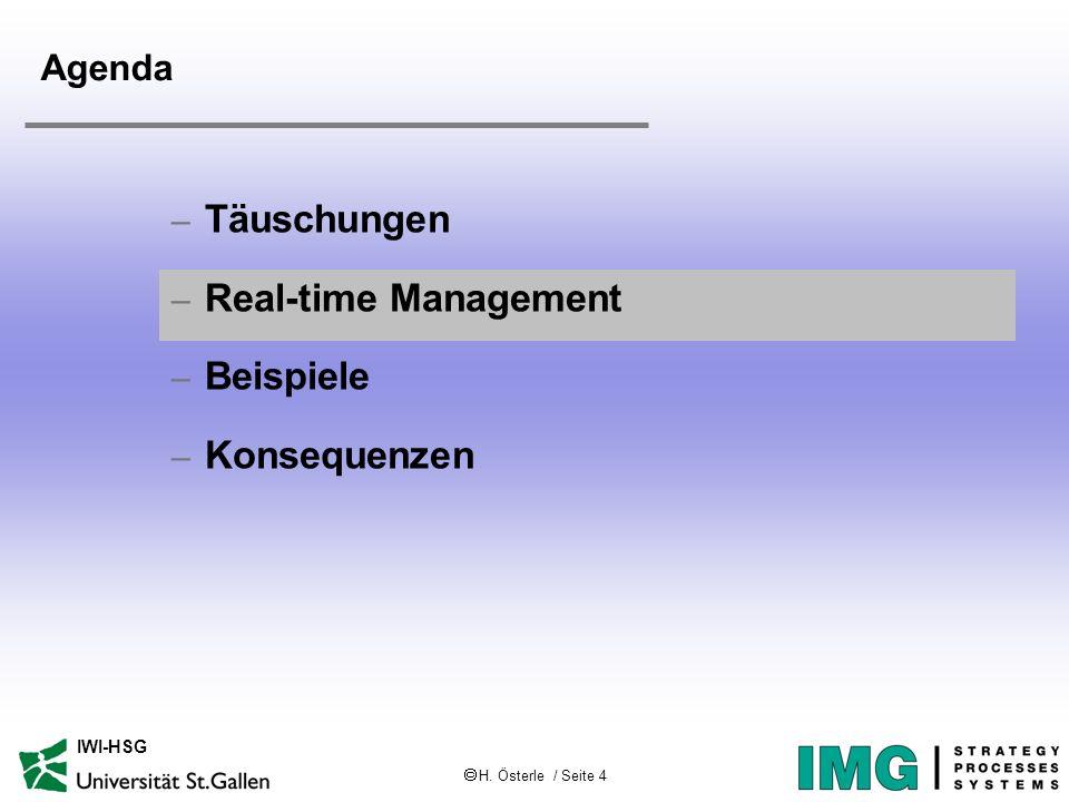 H. Österle / Seite 4 IWI-HSG Agenda – Täuschungen – Real-time Management – Beispiele – Konsequenzen