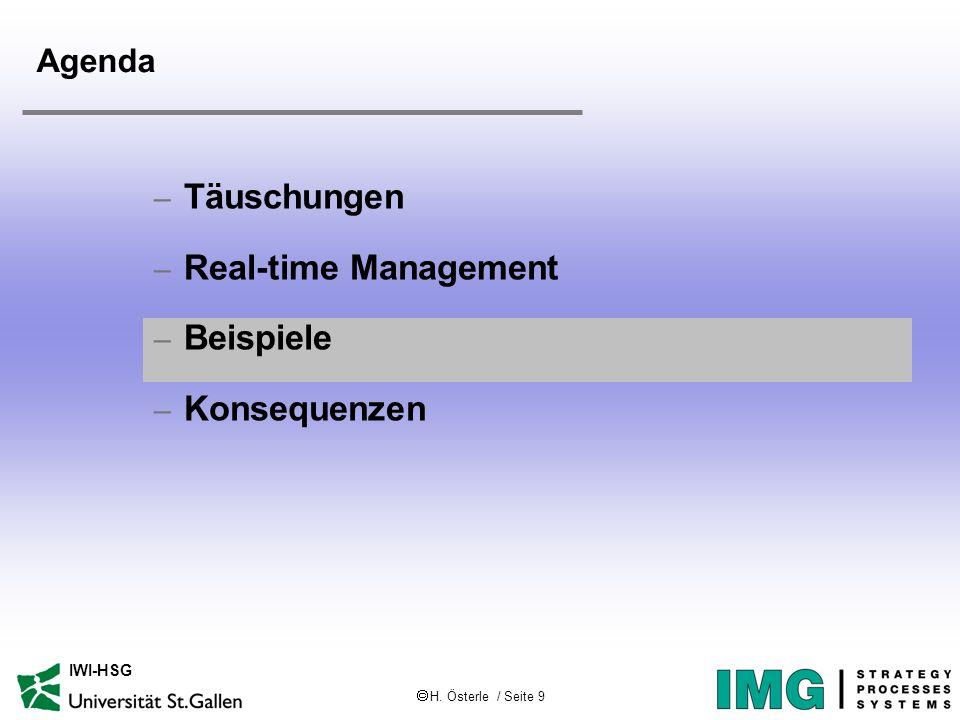 H. Österle / Seite 9 IWI-HSG Agenda – Täuschungen – Real-time Management – Beispiele – Konsequenzen