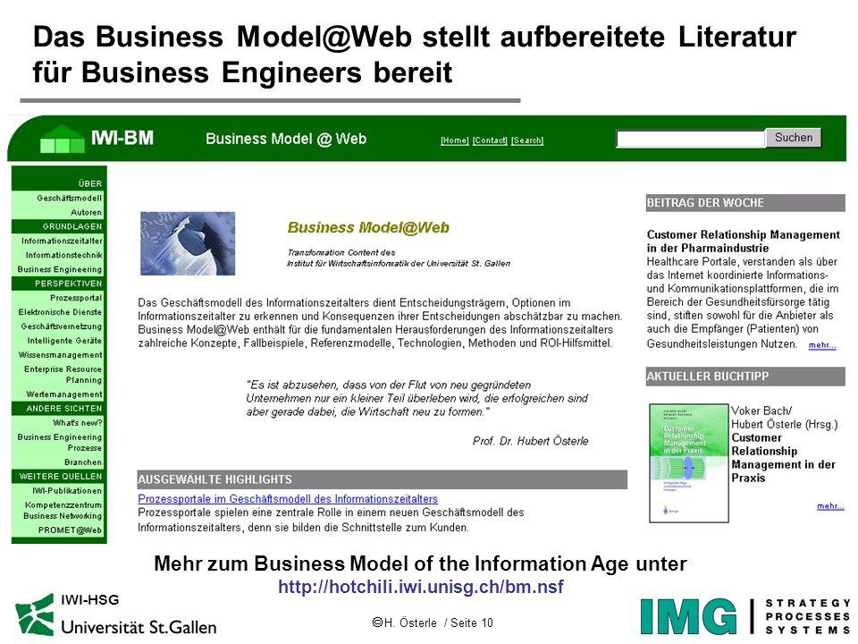 H. Österle / Seite 10 IWI-HSG Das Business Model@Web stellt aufbereitete Literatur für Business Engineers bereit Mehr zum Business Model of the Inform