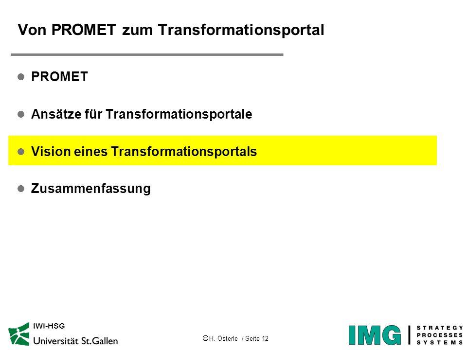 H. Österle / Seite 12 IWI-HSG Von PROMET zum Transformationsportal l PROMET l Ansätze für Transformationsportale l Vision eines Transformationsportals