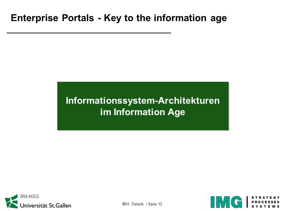 H. Österle / Seite 12 IWI-HSG Enterprise Portals - Key to the information age Informationssystem-Architekturen im Information Age Informationssystem-A
