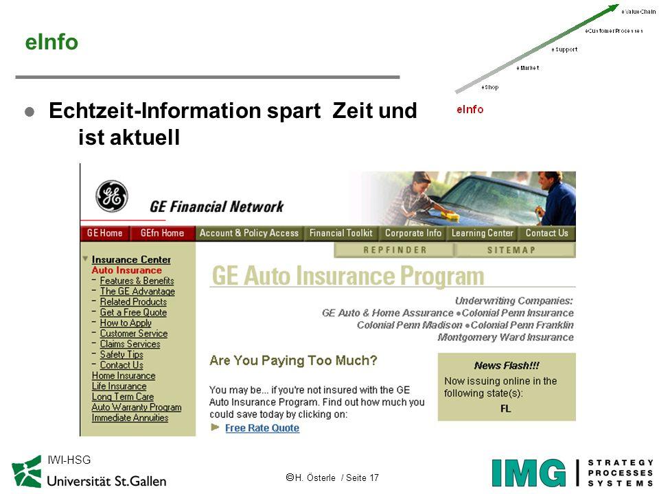 H. Österle / Seite 17 IWI-HSG eInfo l Echtzeit-Information spart Zeit und ist aktuell