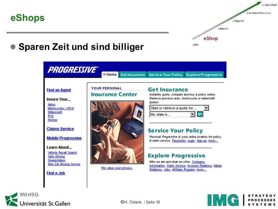 H. Österle / Seite 18 IWI-HSG eShops l Sparen Zeit und sind billiger