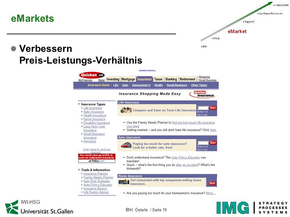 H. Österle / Seite 19 IWI-HSG eMarkets l Verbessern Preis-Leistungs-Verhältnis