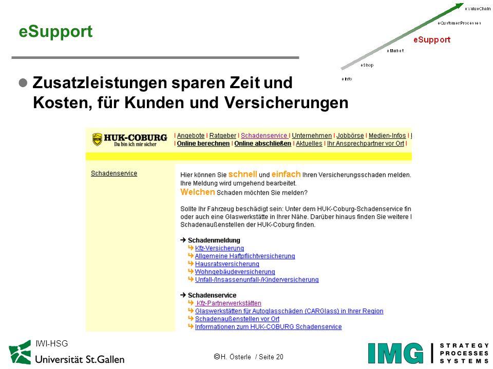 H. Österle / Seite 20 IWI-HSG eSupport l Zusatzleistungen sparen Zeit und Kosten, für Kunden und Versicherungen
