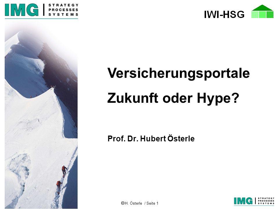 H. Österle / Seite 1 Prof. Dr. Hubert Österle Versicherungsportale Zukunft oder Hype?