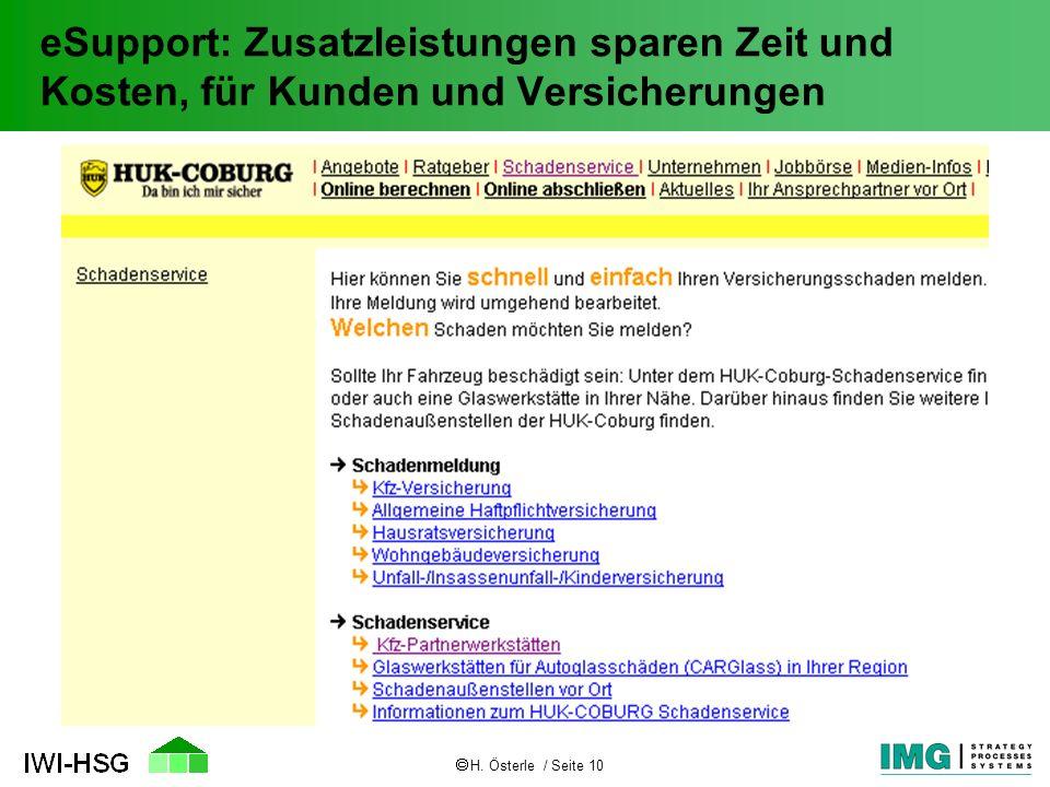 H. Österle / Seite 10 eSupport: Zusatzleistungen sparen Zeit und Kosten, für Kunden und Versicherungen