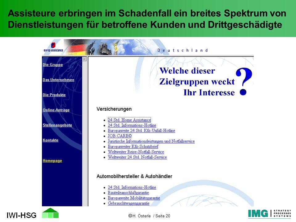 H. Österle / Seite 20 Assisteure erbringen im Schadenfall ein breites Spektrum von Dienstleistungen für betroffene Kunden und Drittgeschädigte