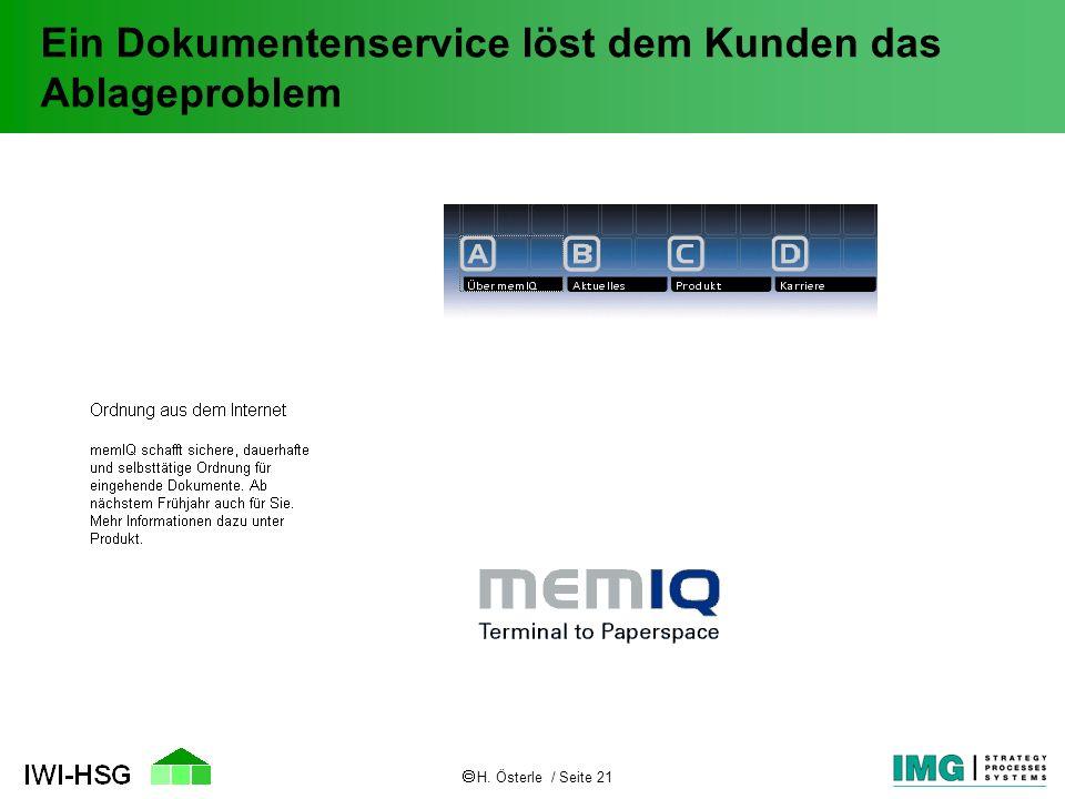 H. Österle / Seite 21 Ein Dokumentenservice löst dem Kunden das Ablageproblem