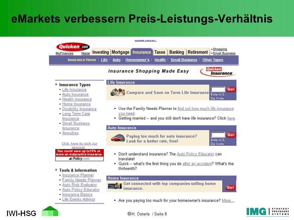 H. Österle / Seite 8 eMarkets verbessern Preis-Leistungs-Verhältnis