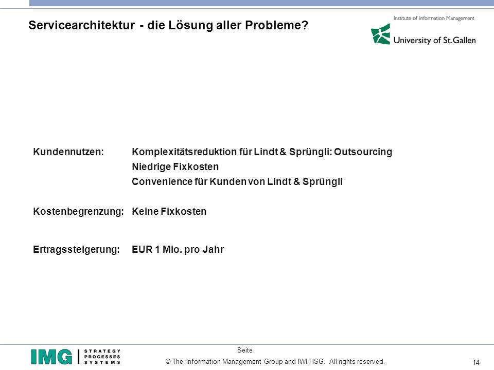 14 © The Information Management Group and IWI-HSG. All rights reserved. Seite Servicearchitektur - die Lösung aller Probleme? Kundennutzen: Komplexitä