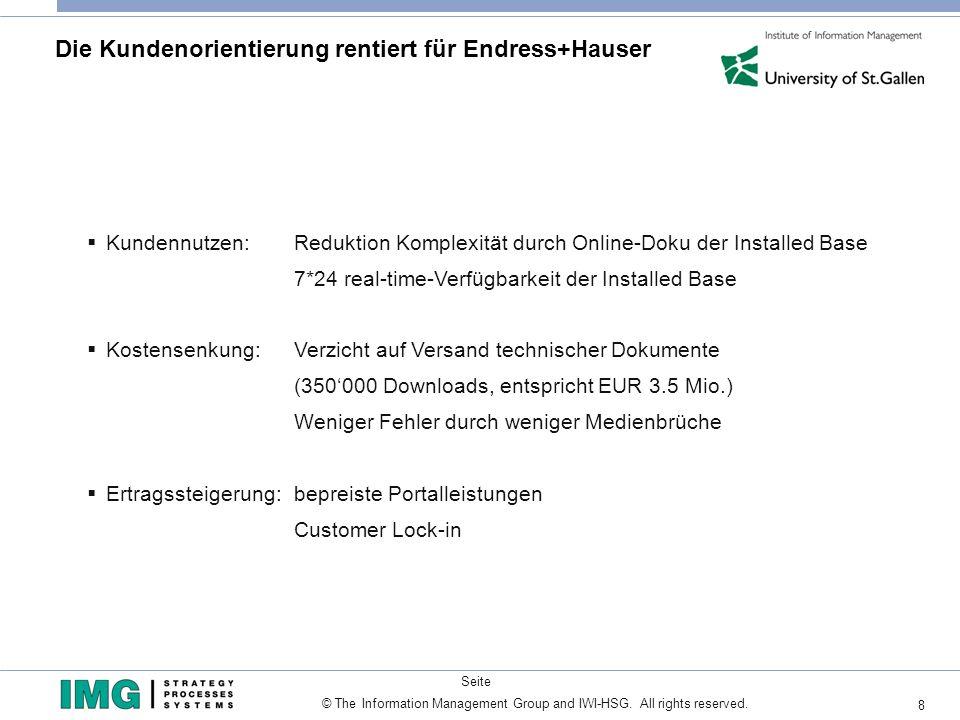 8 © The Information Management Group and IWI-HSG. All rights reserved. Seite Die Kundenorientierung rentiert für Endress+Hauser Kundennutzen: Reduktio