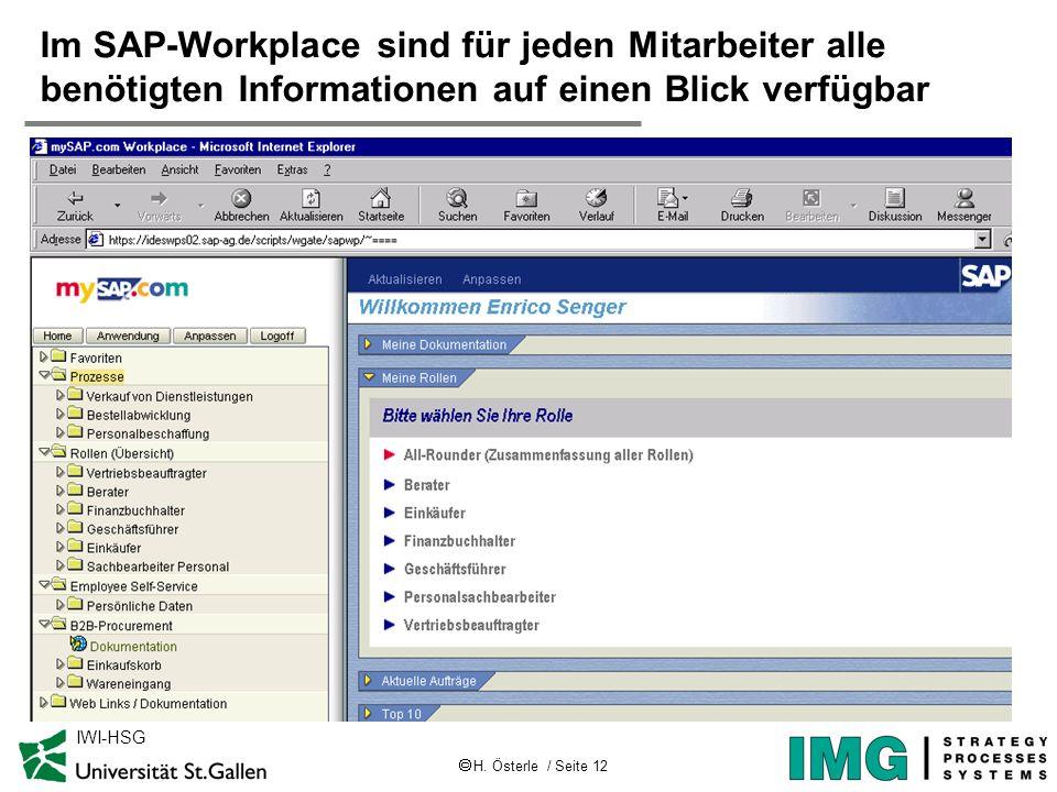 H. Österle / Seite 12 IWI-HSG Im SAP-Workplace sind für jeden Mitarbeiter alle benötigten Informationen auf einen Blick verfügbar