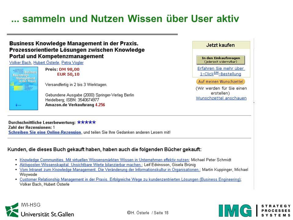 H. Österle / Seite 18 IWI-HSG Case ETA Case AMAZON... sammeln und Nutzen Wissen über User aktiv